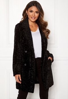 Happy Holly Sienna fur coat Black Bubbleroom.se