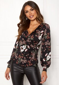 Happy Holly Simone wrap top Black / Patterned Bubbleroom.se
