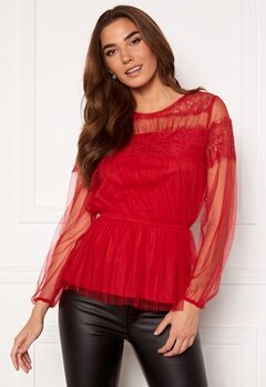 Happy Holly Smilla ls mesh blouse Red Bubbleroom.se