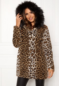 Happy Holly Trinny faux fur coat Leopard Bubbleroom.se