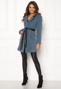 Happy Holly Tuva wool coat Dusty blue Bubbleroom.se