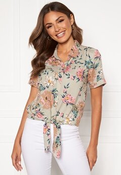 Happy Holly Vilma knot shirt Beige / Floral Bubbleroom.se