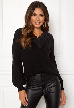 Happy Holly Wendy lace sweater Black Bubbleroom.se