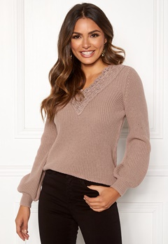 Happy Holly Wendy lace sweater Dusty pink Bubbleroom.se