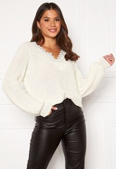 Happy Holly Wendy lace sweater Offwhite Bubbleroom.se