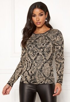 Happy Holly Sandra knitted lurex sweater Animal print Bubbleroom.se