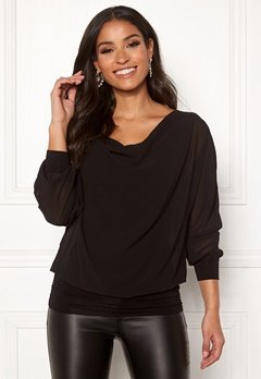 Happy Holly Lisa drapy blouse Black Bubbleroom.se
