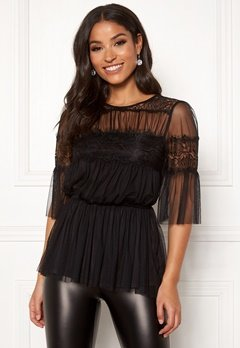 Happy Holly Smilla mesh top Black Bubbleroom.se