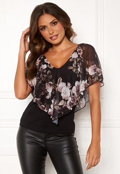 Happy Holly Fanny top Black / Patterned Bubbleroom.se