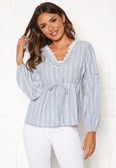 Happy Holly Sanna blouse Blue / Striped Bubbleroom.se