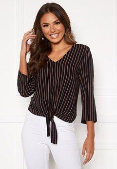 Happy Holly Thea knot blouse Black / Striped Bubbleroom.se