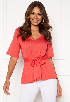 Happy Holly Moa knot top Coral red Bubbleroom.se