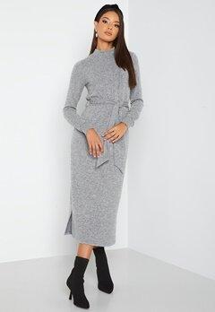 Happy Holly Faith cosy midi dress Grey melange bubbleroom.se