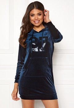 Happy Holly Kaylee velour hoody Dark blue Bubbleroom.se