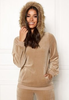 Happy Holly Kaylee short fur hoody Light mole Bubbleroom.se