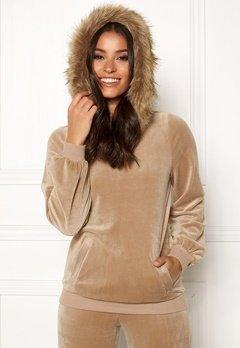 Happy Holly Kaylee short fur hoody Light mole Bubbleroom.se