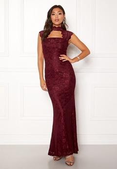 Goddiva High Neck Cut Out Lace Dress Wine Bubbleroom.se