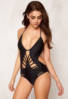 Hot Anatomy Multi Strapped Swimsuit Black Bubbleroom.no