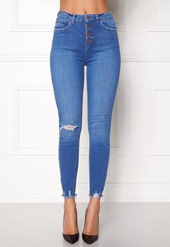New Look HW Skinny Rip Jeans Duck Egg Bubbleroom.se
