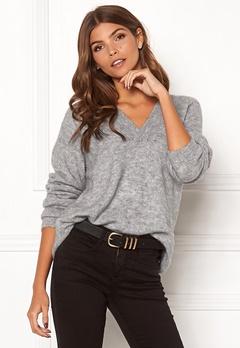 ICHI Amara V LS Sweater Grey Melange Bubbleroom.se