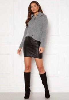 ICHI Darina Leather Skirt Black Bubbleroom.se