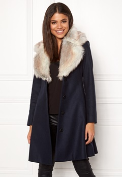 Ida Sjöstedt Tracey Coat Wool Navy/Light Fur Bubbleroom.se