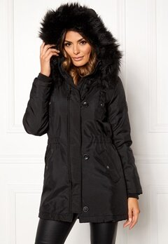 ONLY Iris Fur Parka Black Fur Bubbleroom.se