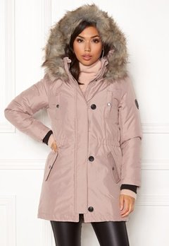 ONLY Iris Fur Parka Rose dust Bubbleroom.se