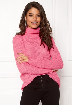 Jacqueline de Yong Anna Highneck Pullover Aurora Pink Bubbleroom.no