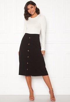 Jacqueline de Yong Bellis Button Skirt Black/Dark wood butt Bubbleroom.se