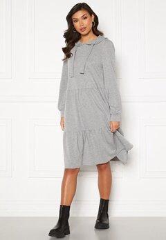 Jacqueline de Yong Dale L/S Hood Sweat Dress Light Grey Melange Bubbleroom.se