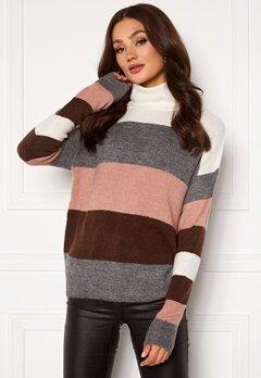 Jacqueline de Yong Elanora L/S Stripe Rollneck Knit Woodrose/ Stripes Bubbleroom.se