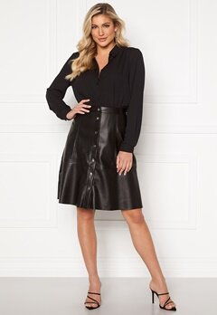 Jacqueline de Yong Hill Button PU Skirt Black Bubbleroom.se