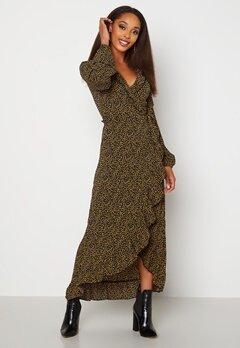 Jacqueline de Yong Jules L/S Wrap Ankle Dress Black AOP Dots Bubbleroom.se