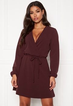 Jacqueline de Yong Lauren L/S Belt Dress Vineyard Wine Bubbleroom.se