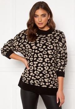 Jacqueline de Yong Leo L/S Pullover Black/Leopard Bubbleroom.se