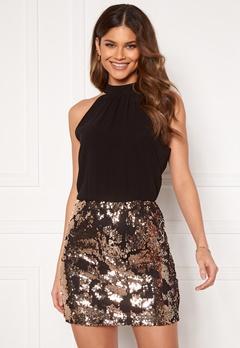 Jacqueline de Yong Lola S/L Highneck Dress Black Champagne Sequ Bubbleroom.se
