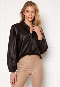 Jacqueline de Yong London L/S Faux Leather Shirt Black Bubbleroom.se