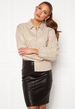 Jacqueline de Yong London L/S Faux Leather Shirt Chateau Gray Bubbleroom.se