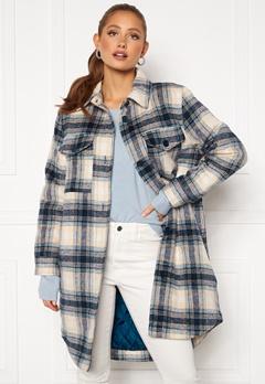 Jacqueline de Yong Long Check Shirt Jacket Majolica Blue Bubbleroom.se