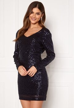 Jacqueline de Yong Mimo Sequins L/S Dress Sky Captain Sequins Bubbleroom.se