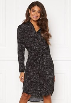 Jacqueline de Yong Piney L/S Below Knee Shirt Dress Black AOP White Dots Bubbleroom.se