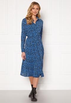 Jacqueline de Yong Piper L/S Placket Dress Blue Iolite AOP Silv Bubbleroom.se