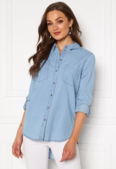 Jacqueline de Yong Roger L/S Long Shirt Light Blue Denim Bubbleroom.se
