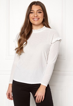 Jacqueline de Yong Rositta L/S Frill Top Cloud Dancer Bubbleroom.se