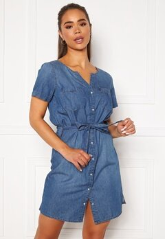 Jacqueline de Yong Saint Life Shirt Dress Medium Blue Denim Bubbleroom.se