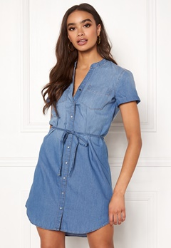 Jacqueline de Yong Shinest S/S Belt Dress Medium Blue Denim Bubbleroom.se