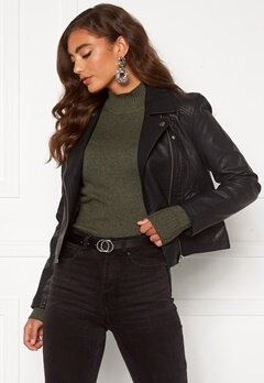 Jacqueline de Yong Simba Faux Leather Jacket Black Bubbleroom.se