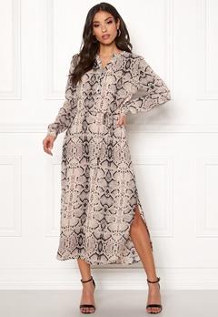 Jacqueline de Yong Snakey L/S Long Dress Sandshell Bubbleroom.se