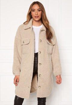 Jacqueline de Yong Stella Teddy Shirt Jacket Cement Bubbleroom.se